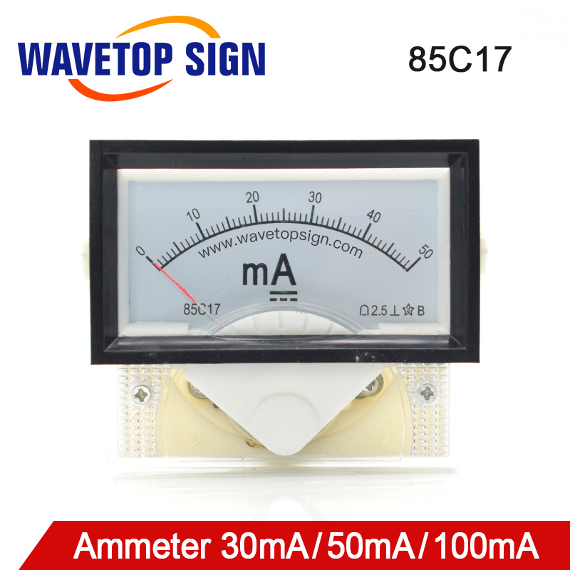 WaveTopSign 30mA 50mA Ammeter 85C17 DC 0-50mA Analog Amp Panel Meter Current For CO2 Laser Engraving Cutting Machine