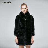 Gorgeion Winter Autumn Rabbit Fur Women Coat Fashion Real Fur Coats For Women Brand Sale Female