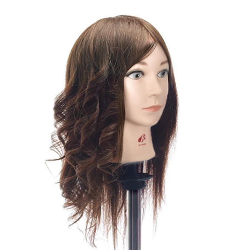 High Quality Female 16 Training Mannequin Head With 100% Natural Human Hair Wig Head For Hairdresser Mannequin Head Dolls Sale graceful short side bang fluffy natural wavy capless human hair wig for women