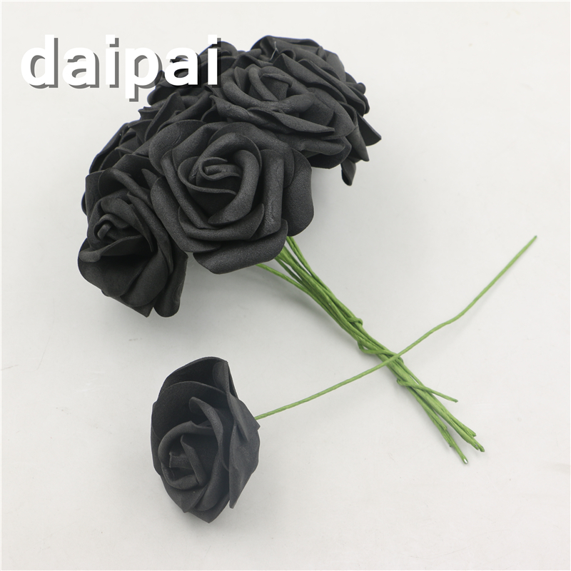 Black To Black Flowers 4: Wedding Party Artificial Foam Black Rose Flowers