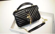 bolsos mujer de marca famosa 2017 Leather Handbag Top Quality V pattern Lambskin Chain Quilted Bags Shoulder Bolsa Feminina