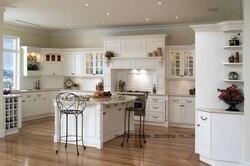 Деревенский стиль твердый деревянный кухонный шкаф (LH-SW011)