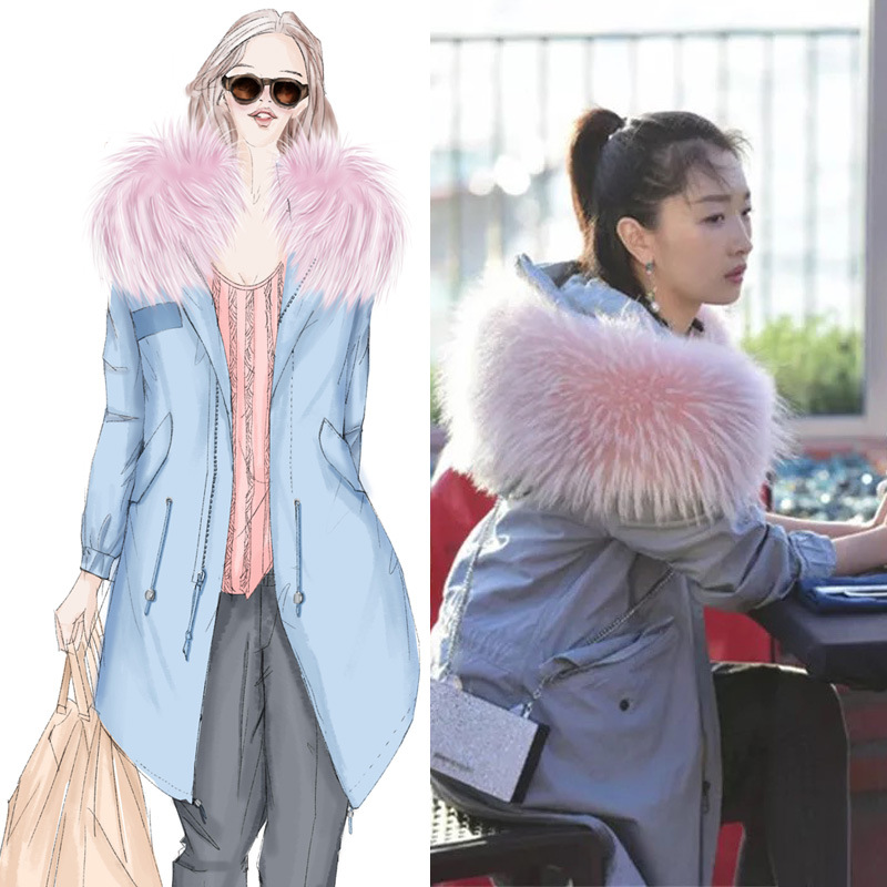 Winter Parker Raccoon Fur Collar Windbreaker Star Fox Coat padded raccoon fur real colorful detachable removable lining parkas 2017 winter new clothes to overcome the coat of women in the long reed rabbit hair fur fur coat fox raccoon fur collar
