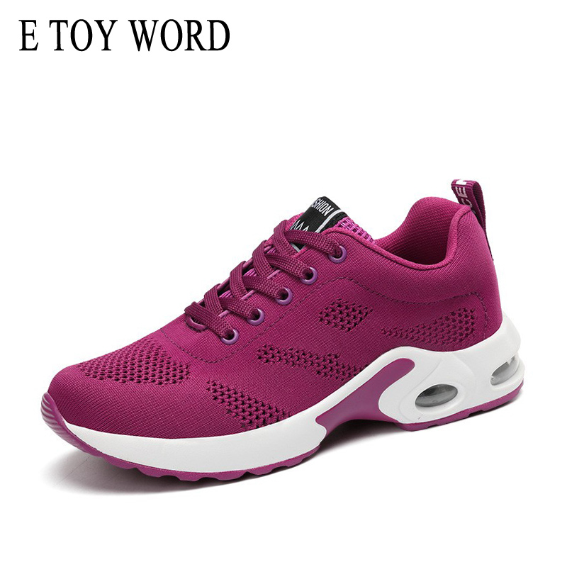 E TOY WORD Spring Summer Women's Shoes Flying Sneakers casual shoes Soft air cushion shoes Female student shoes tenis feminino