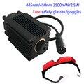 Diy 2.5 w 2500 mw azul luz laser diode module peças para mini laser máquina de gravura do cnc de alta-potência 450 445nm focalizável óculos