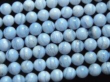 Encanto natural Brasil 10mm encaje azul calcedonia granos flojos redondos al por mayor freeshipping