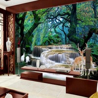 Custom 3 D Hd Fairyland Fantasy Photo Fantasy Forest Waterfall Room Wall Mural 3d Wallpaper Wallpaper
