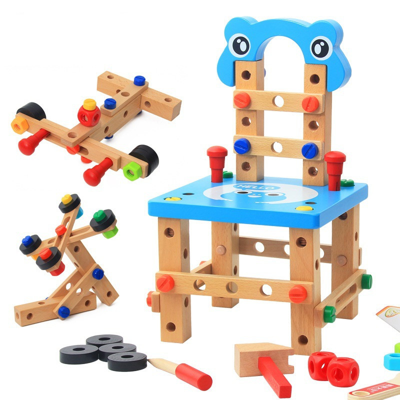 Niños juguete educativo multifunción tornillo tuerca desmontaje combinado bloques de construcción de madera DIY silla ensamblada Juguetes-in Bloques de atornillar from Juguetes y pasatiempos    1