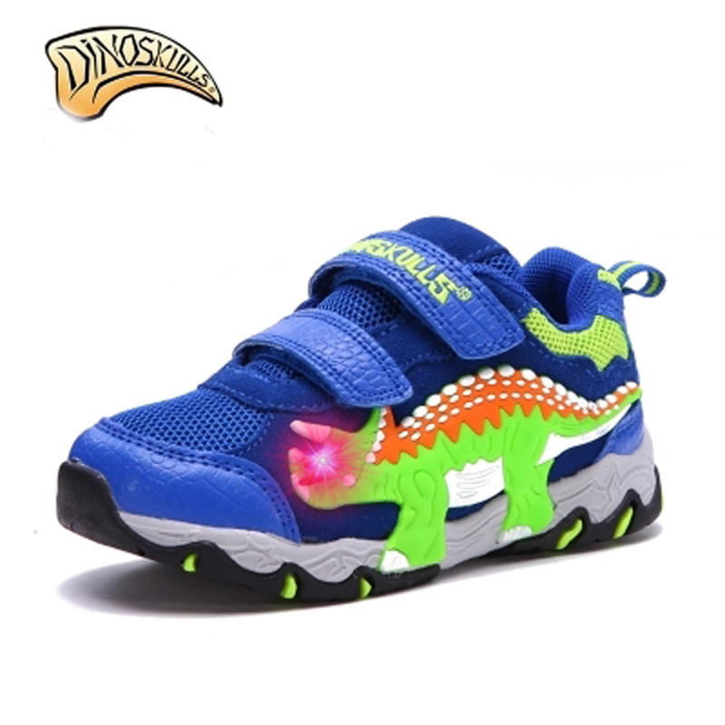 Dinoskulls kids sneakers brand lights for boys led shoes luminous 2017 Breathable sport shoes tenis infantil 3D dinosaur shoes