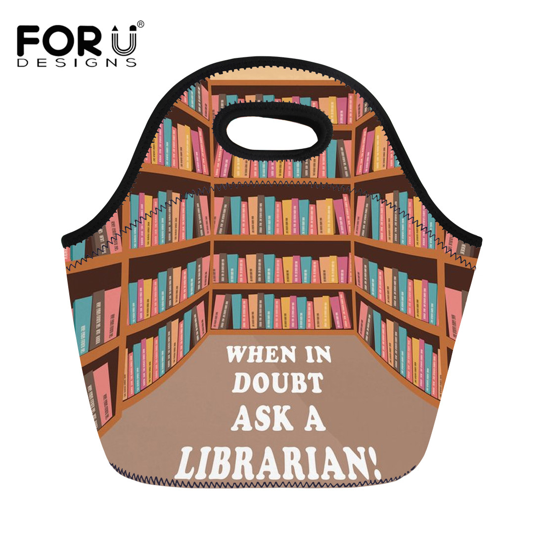 FORUDESIGNS Librarian Life Pattern Thermal Cooler Insulated Lunch Bag for Kid School Work Picnic Women Handbags Thermo Food Bags