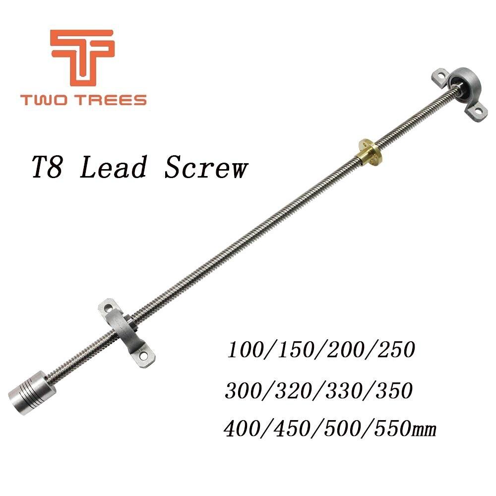 T8 Mutter 5x8mm Flexible Kupplung 3d Drucker Teile & Cnc Feines Handwerk Ausdauernd T8 Blei Schraube 300/350/350/380/400/500mm 8mm Kp08 Lager Halterung