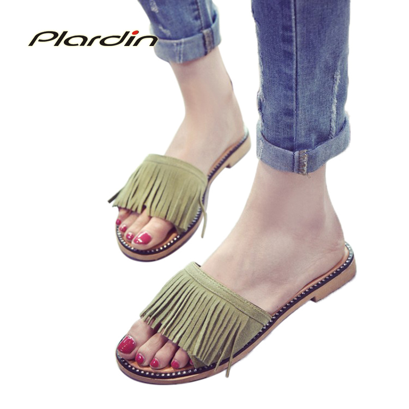 Plardin Bohemia Summer Casual Women Peep Toe Concise Flat Sandals 2018 Woman Ladies tassel Beach Shoes Flip Flops vostok vostok т 10005 32