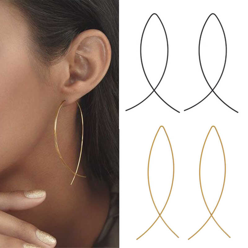Sliver Gold Black Plating Earrings Fashion Design Simple Brincos for Women Fish Gold Silver Black Earring Metal Ear Jewerly