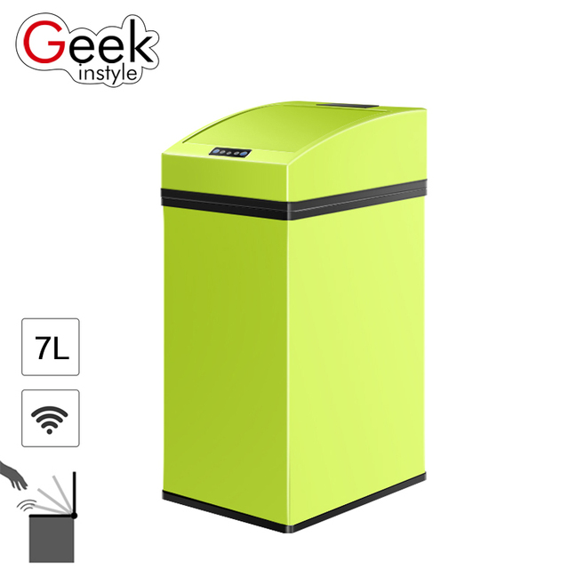 Geekinstyle 7l Colorful Mini Trash Can Stainless Steel Garbage Can