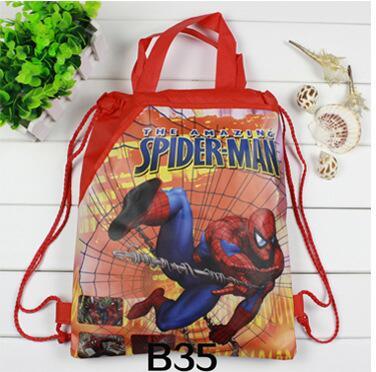 2d4d351a619c 12pcs Double Pocket Superhero Kids Birthday Gift Bag Spider Man Drawstring  Backpack Super Mario Bros School Bag Party Favor