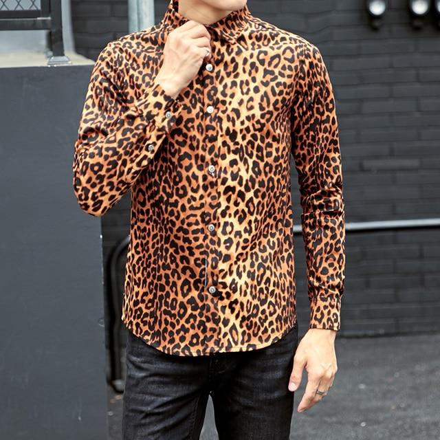 2018 New Men S Clothing Autumn Long Sleeve Shirt Flowers Cotton Plus Size Leopard Print Slim Singer Costumes