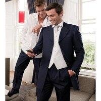 Retro Groomsmen Black Four Buttons Jacket Men Suits Dinner Formal Blazers 3 Pieces Jacket Pants Vest