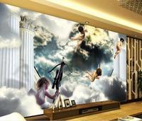 3d Wallpaper European Style Sky Angel Roman Column Background Wall Decoration Painting Living 3d Wallpaper