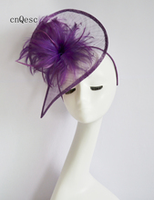2019 Purple sinamay fascinator headpiece Kentucky Derby wedding races bridal shower mother of the bride w/feather