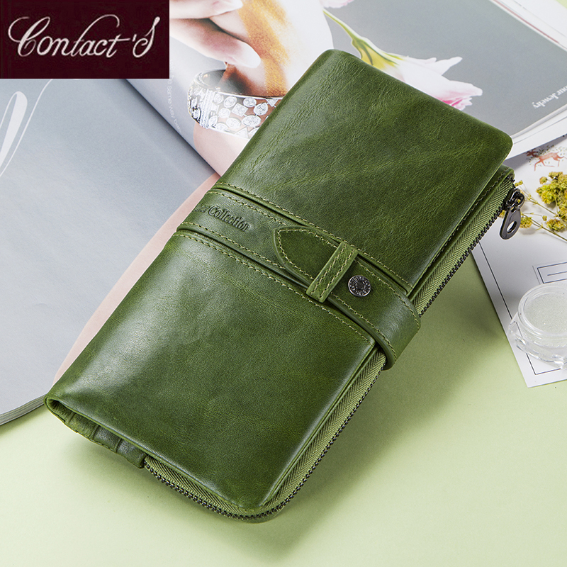 New Fashion Women Wallets Genuine Leather Long Wallet Zipper Female Card Holder Clutch Brand Design Coin Purse With Phone Holder jamarna brand wallet female genuine leather long clutch women purse with phone holder women wallets fashion crocodile leather