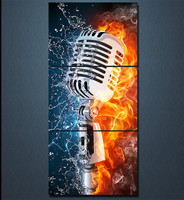HD Printed 3 Panel Canvas Art Microphone Fire Water Artistic Canvas Painting Room Decor Canvas Wall
