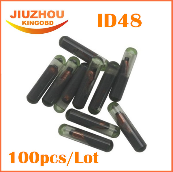 100pcs lot ID48 car auto key transponder chip ID 48 Car Key Chip 48 glass tube