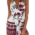 2016 Fashion Women Apparel Boho Floral Print Jumpsuit Romper Summer Halter Short Playsuit Bow Beach Sexy Overalls