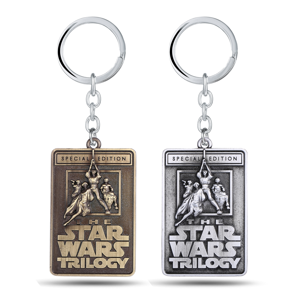 HSIC JEWELRY Star Wars Trilogy Keychains Letters Gold/Silver Zinc Alloy Key Chain Ring For Men Jewelry Gifts