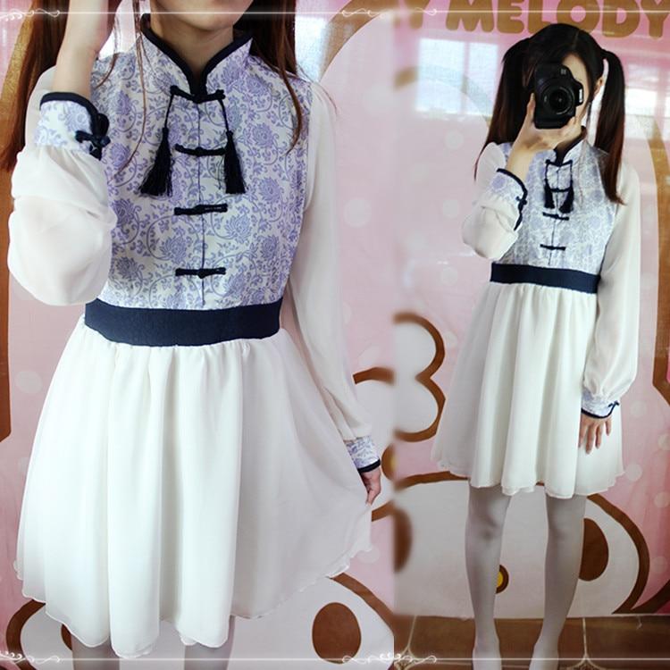 Čínská modrá a bílá Květinový vzor kostým Čínské oblečení Lolita denně starověké šaty