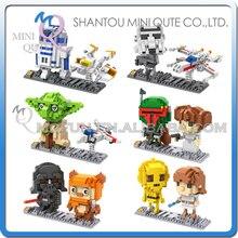Мини Qute LOZ звездные войны R2D2 робот йода X медь-крыло истребитель дарт вейдер пластиковые фигурки строительные блоки образовательные игрушки