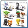Mini Qute LOZ guerra de las galaxias R2D2 robot Yoda X-Wing Starfighter Darth Vader de plástico figuras de acción juguetes educativos bloques de construcción