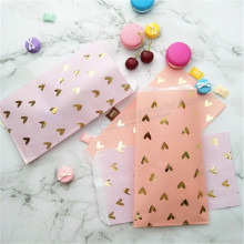 25pcs Blush Pink Foil Gold Heat Candy Paper Bags Violet Snack Sweet Packing Party Treat Bag for Wedding Bridal Shower Birthday