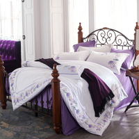 Long staple cotton romantic flower embroidery noble Bedding sets king queen size luxury Bed set bed cover sheet set duvet cover