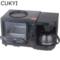 CUKYI Coffee maker frying pan mini oven 3 in 1 Breakfast Maker electric home appliance,black