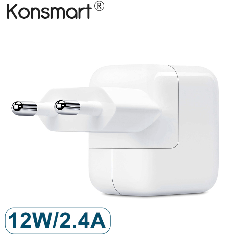 Konsmart Original 12W Portable USB Power Adapter Charger For iPad iPhone x 8 7 6s 2.4A Fast Phone Charger for Xiaomi huawei p20