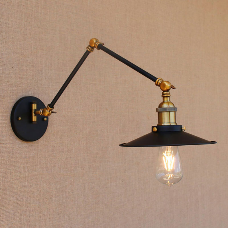 Vintage iron black adjustable head swing arm wall lamp e27 lights modern for dining room living room bedroom restaurant barVintage iron black adjustable head swing arm wall lamp e27 lights modern for dining room living room bedroom restaurant bar