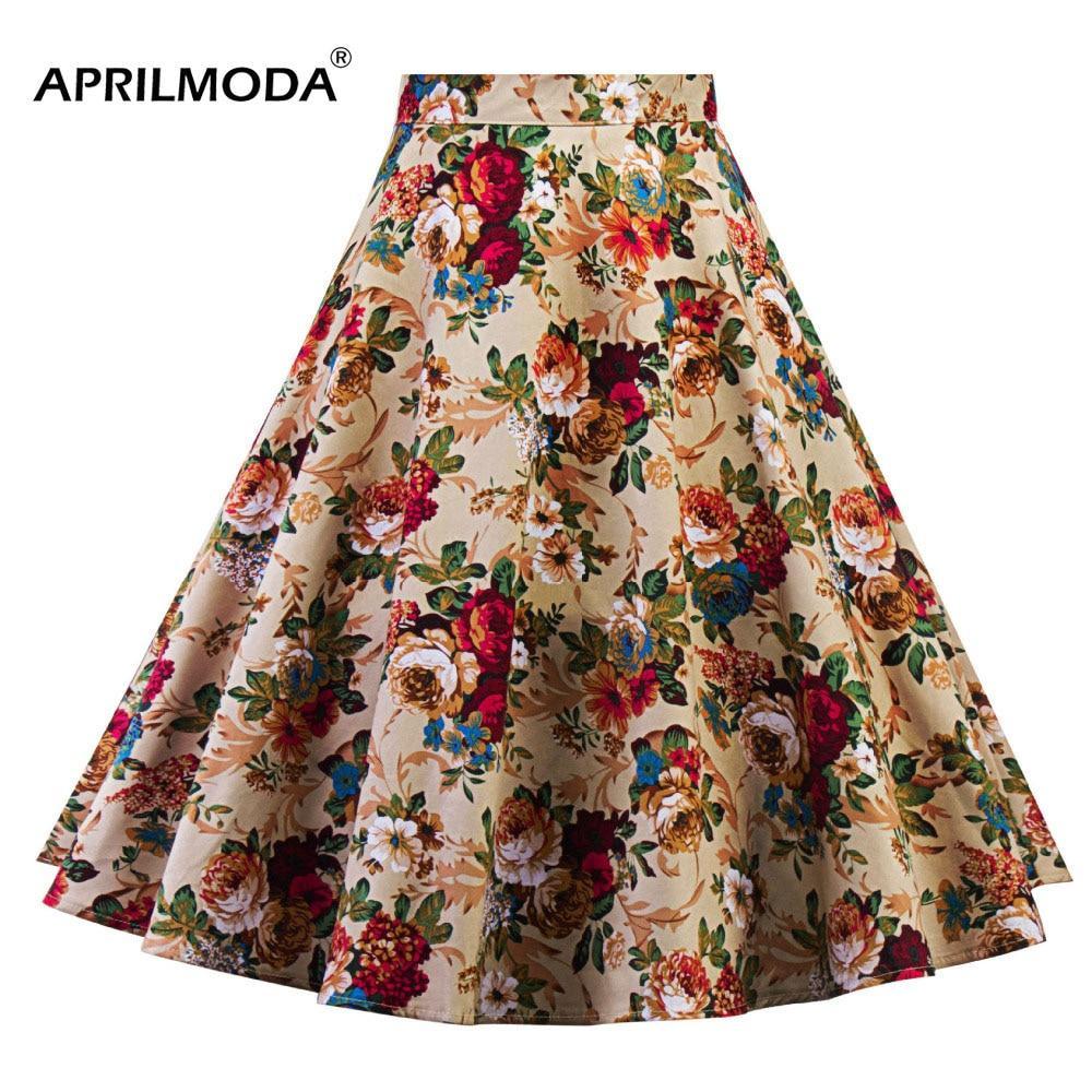 Women Midi Pleated Skirts Vintage 50s 60s Flower Printed Summer Skirts Ball Gown High Waist Audrey Hepburn Swing Skirts 2018