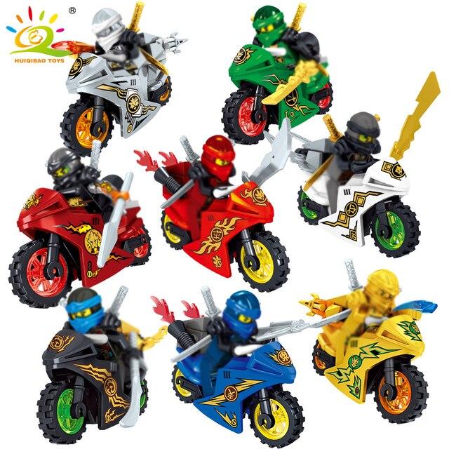 8 PCS Ninjagoe Motocicleta Modelo Compatível Legoed Ninjagoes Moto Nya Lloyd Cole Jay Kai Zane Figuras Blocos de Construção de Tijolos Brinquedos