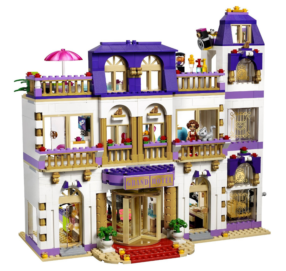 BELA Friends Series Heartlake Grand Hotel Building Blocks Classic Girl Kids Model Toys Marvel Compatible lepin brick block toy respectlight стол flos orange
