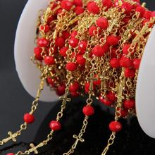 5Meter Red Glass Faceted Rondelle Chain,Glass bead gold plated Cross Rosary Chains,Wire Wrapped Fashion Necklace Jewelry making