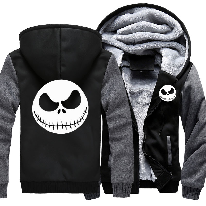 Men's Thicken Hoodie Nightmare Before Christmas Jack Skellington Zipper Jacket Sweatshirts Coat Long Sleeve Casual Warm Hooded-in Hoodies & Sweatshirts from Men's Clothing    1