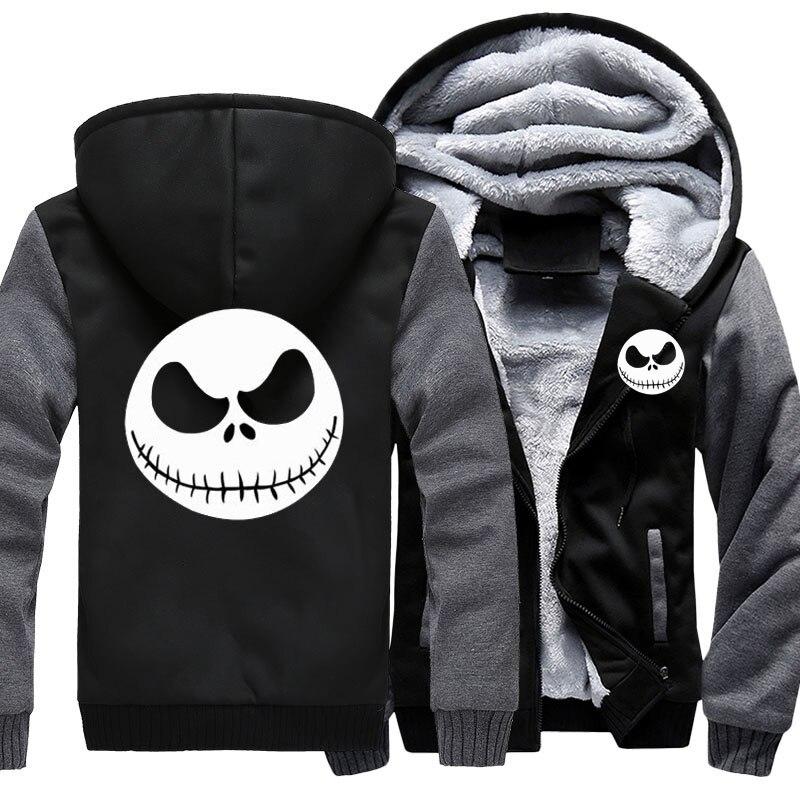 Men's Thicken Hoodie Nightmare Before Christmas Jack Skellington Zipper Jacket Sweatshirts Coat Long Sleeve Casual Warm Hooded
