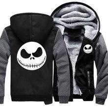 Mens Thicken Hoodie Nightmare Before Christmas Jack Skellington Zipper Jacket Sweatshirts Coat Long Sleeve Casual Warm Hooded