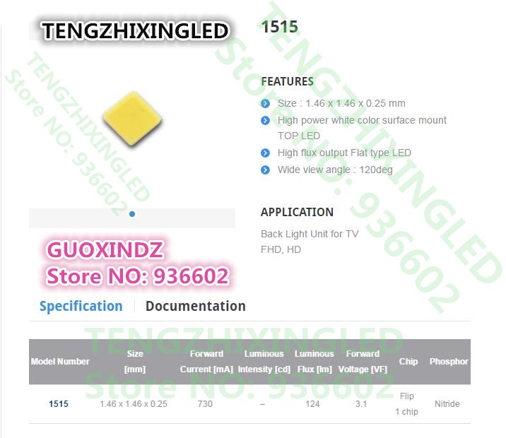 Image 2 - For SAMSUNG LED LCD Backlight TV Application   LED Backlight  3W  3V  CSP 1515  Cool white  LCD Backlight for TV  TV ApplicationEL Products   -
