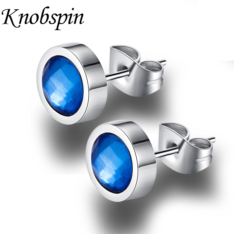 White/Black/Blue/Colorful Round Zircon Stud Earrings for Men Fashion Simple Stainless Steel Mens Stud Earrings Jewelry brincos