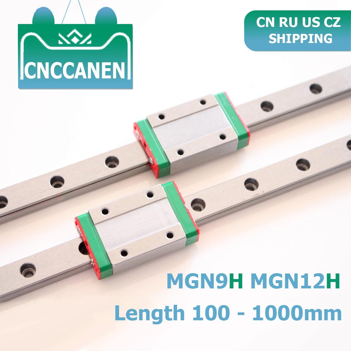 CNC Parts MGN9 MGN12 100 - 1000mm Miniature Linear Rail Slide 2PCS MGN Linear Guide + 2PCS MGN9H Or MGN12H Carriage 3D Printer