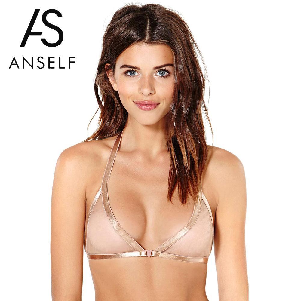 Anself Erotic Underwear Women Lingerie Sheer Mesh Bra Halter Bustier Bralette Transparent Cup Brassiere Bra Beige Sexy Lace Bra lingerie top