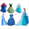 Бесплатная доставка 2015 высший сорт костюм девушка одежда эльза платье платье принцессы с длинным рукавом алмаз платья для девочек для платье