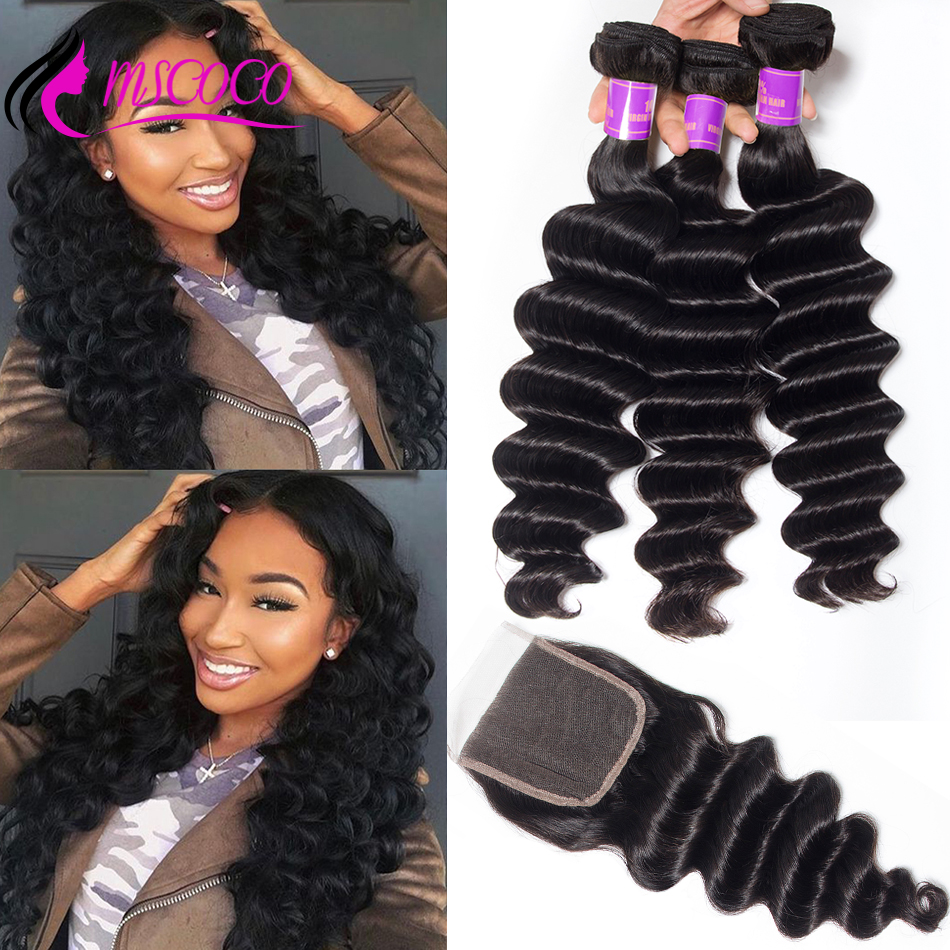 Mscoco Hair Loose Deep Wave Bundles With Closure Remy Human Hair Weave Bundles With Closure Brazilian 3 Bundles With Closure(China)