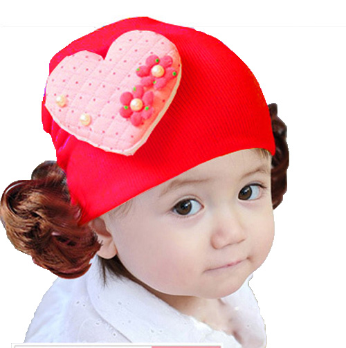 Retail New Girls Heart Shaped Pattern With Flower Wigs Beanies Hats  Children Kids Spring Autumn Knitted Cap Skullcap MZ2070-in Hats   Caps from  Mother ... 8736324e59a